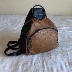 Vintage Leather Woven Backpack